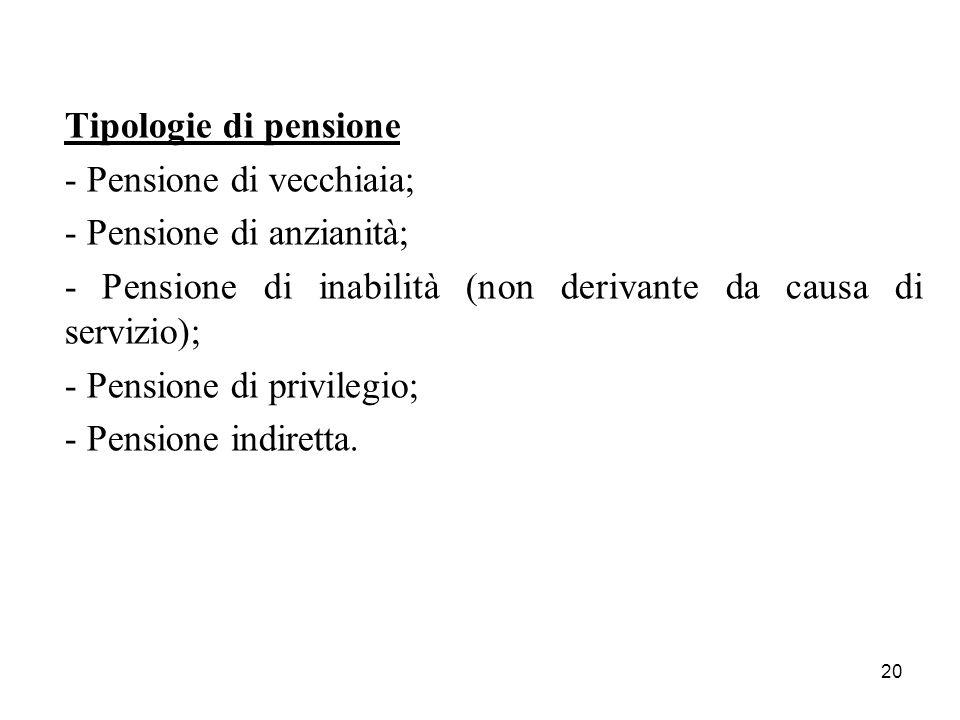 20 Tipologie di pensione - Pensione di vecchiaia; - Pensione di anzianità; - Pensione di inabilità (non derivante da causa di servizio); - Pensione di privilegio; - Pensione indiretta.