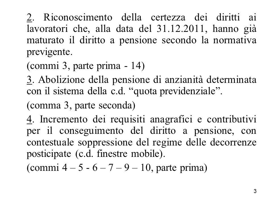 3 2. Riconoscimento della certezza dei diritti ai lavoratori che, alla data del 31.12.2011, hanno già maturato il diritto a pensione secondo la normat