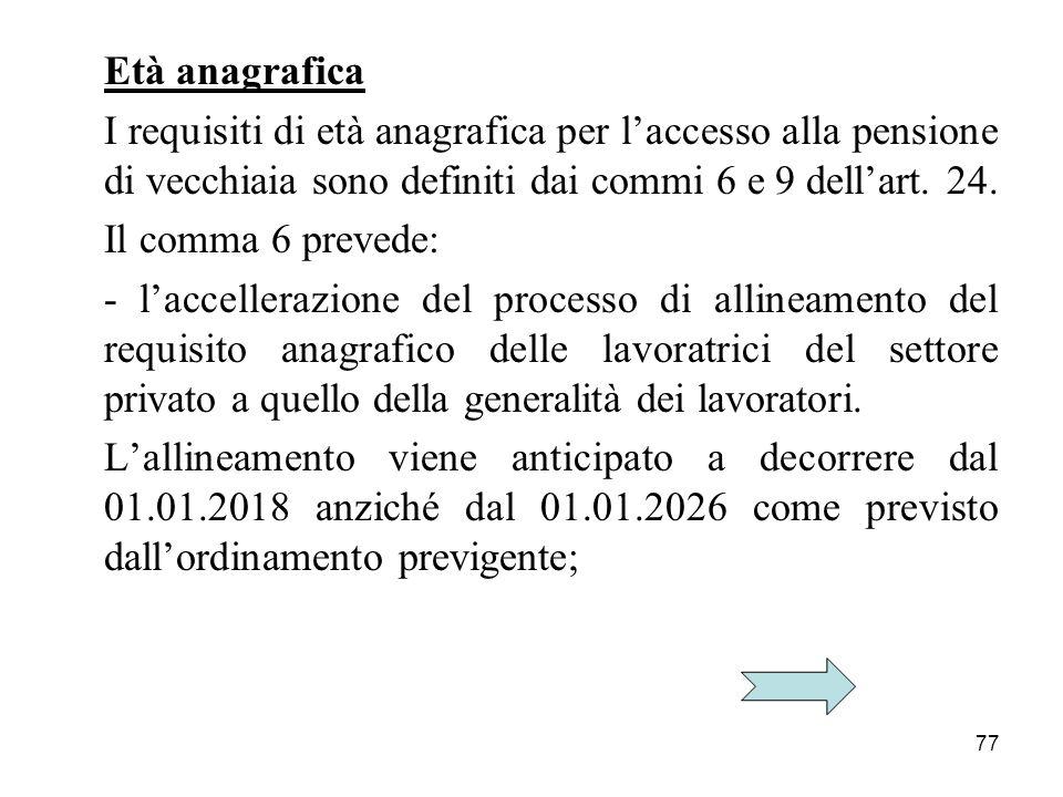 77 Età anagrafica I requisiti di età anagrafica per laccesso alla pensione di vecchiaia sono definiti dai commi 6 e 9 dellart.