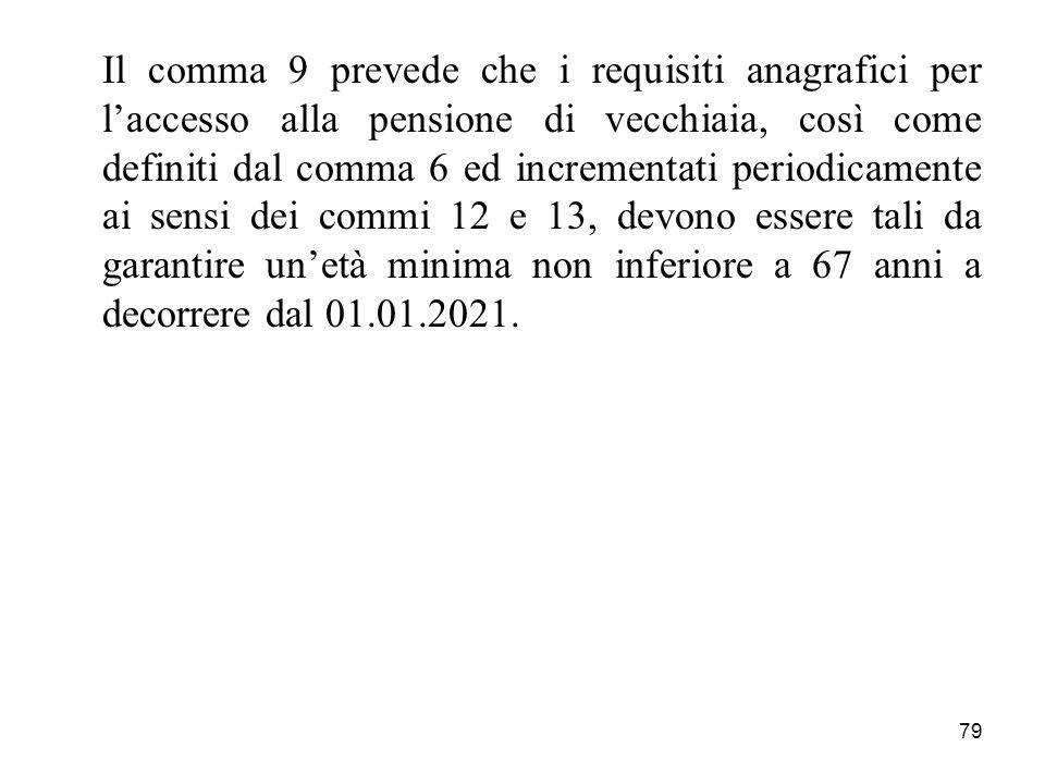 79 Il comma 9 prevede che i requisiti anagrafici per laccesso alla pensione di vecchiaia, così come definiti dal comma 6 ed incrementati periodicamente ai sensi dei commi 12 e 13, devono essere tali da garantire unetà minima non inferiore a 67 anni a decorrere dal 01.01.2021.