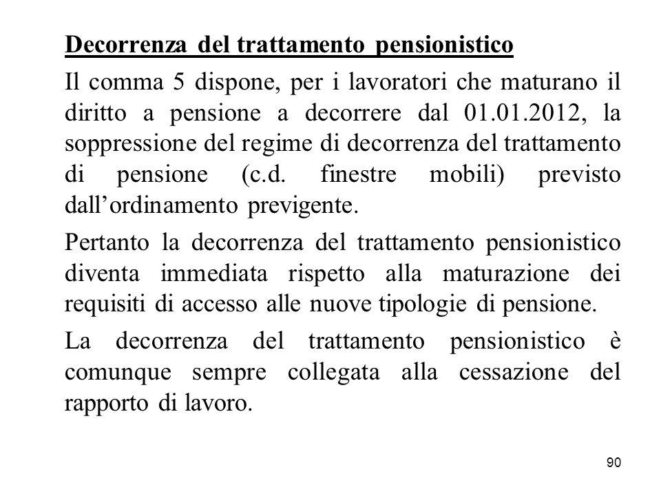 90 Decorrenza del trattamento pensionistico Il comma 5 dispone, per i lavoratori che maturano il diritto a pensione a decorrere dal 01.01.2012, la soppressione del regime di decorrenza del trattamento di pensione (c.d.