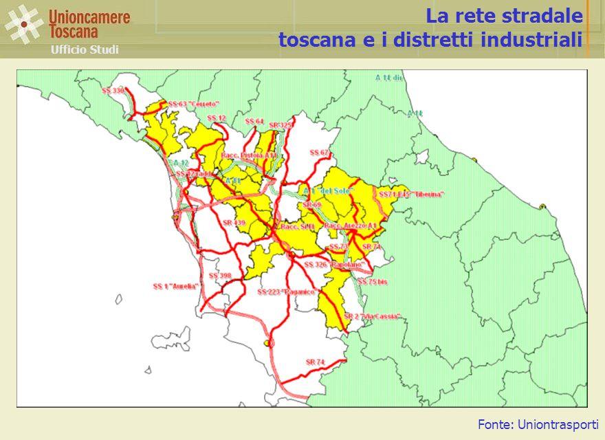 Ufficio Studi La rete stradale toscana e i distretti industriali Fonte: Uniontrasporti