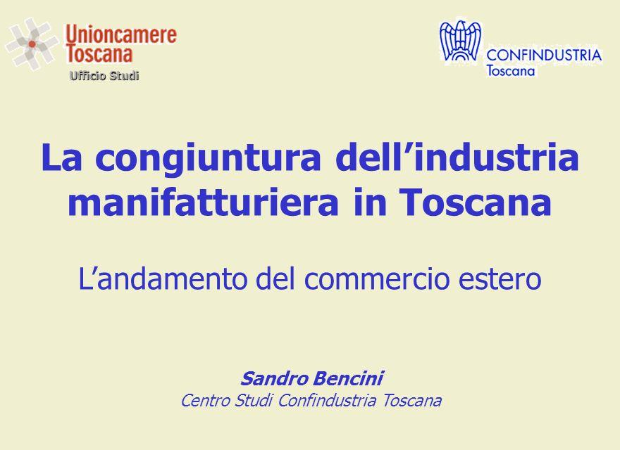 Ufficio Studi La congiuntura dellindustria manifatturiera in Toscana Landamento del commercio estero Sandro Bencini Centro Studi Confindustria Toscana