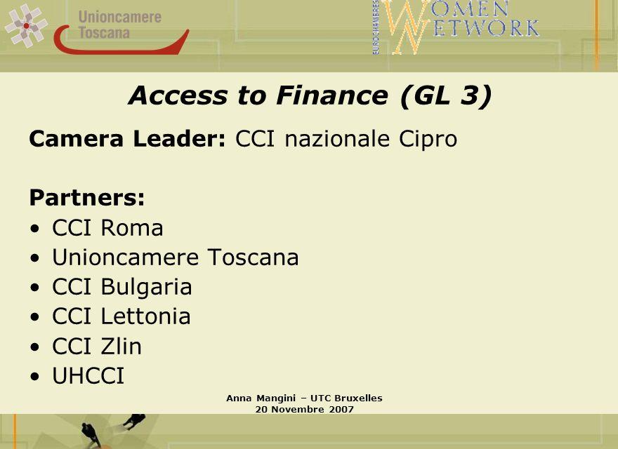 Access to Finance (GL 3) Camera Leader: CCI nazionale Cipro Partners: CCI Roma Unioncamere Toscana CCI Bulgaria CCI Lettonia CCI Zlin UHCCI Anna Mangini – UTC Bruxelles 20 Novembre 2007