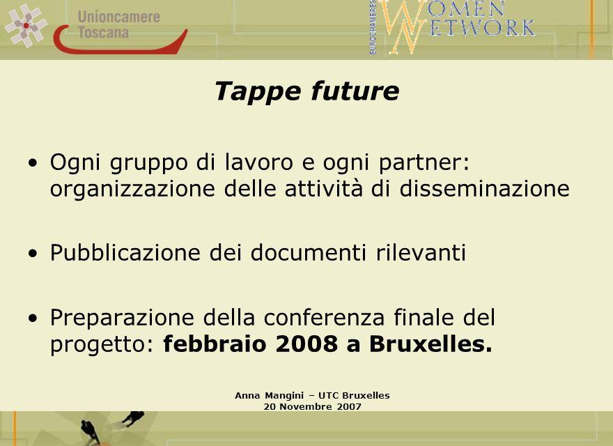 Tappe future Ogni gruppo di lavoro e ogni partner: organizzazione delle attività di disseminazione Pubblicazione dei documenti rilevanti Preparazione della conferenza finale del progetto: febbraio 2008 a Bruxelles.