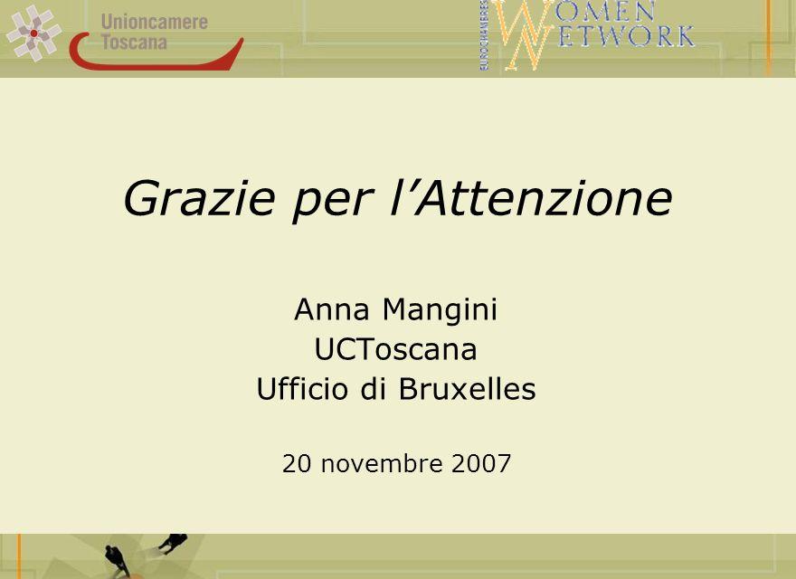 Grazie per lAttenzione Anna Mangini UCToscana Ufficio di Bruxelles 20 novembre 2007