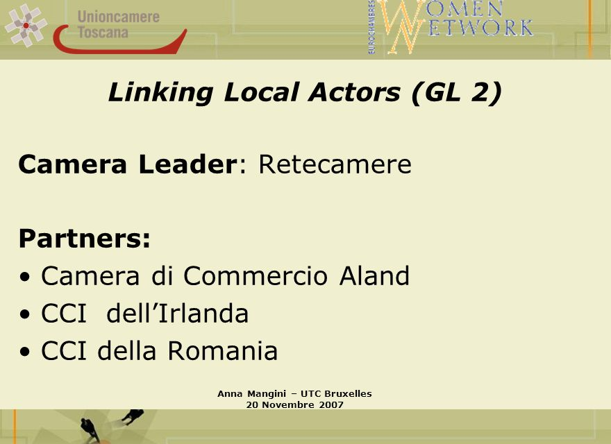 Linking Local Actors (GL 2) Camera Leader: Retecamere Partners: Camera di Commercio Aland CCI dellIrlanda CCI della Romania Anna Mangini – UTC Bruxell