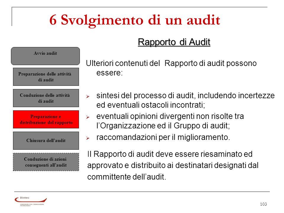 103 6 Svolgimento di un audit Rapporto di Audit Ulteriori contenuti del Rapporto di audit possono essere: sintesi del processo di audit, includendo incertezze ed eventuali ostacoli incontrati; eventuali opinioni divergenti non risolte tra lOrganizzazione ed il Gruppo di audit; raccomandazioni per il miglioramento.