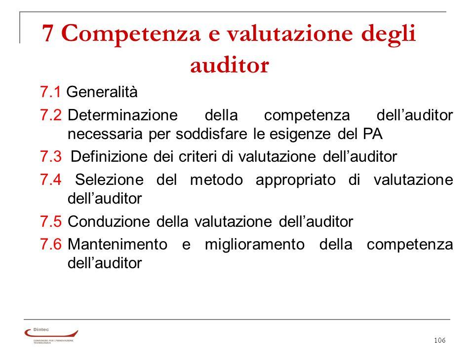 106 7 Competenza e valutazione degli auditor 7.1 Generalità 7.2 Determinazione della competenza dellauditor necessaria per soddisfare le esigenze del PA 7.3 Definizione dei criteri di valutazione dellauditor 7.4 Selezione del metodo appropriato di valutazione dellauditor 7.5Conduzione della valutazione dellauditor 7.6Mantenimento e miglioramento della competenza dellauditor