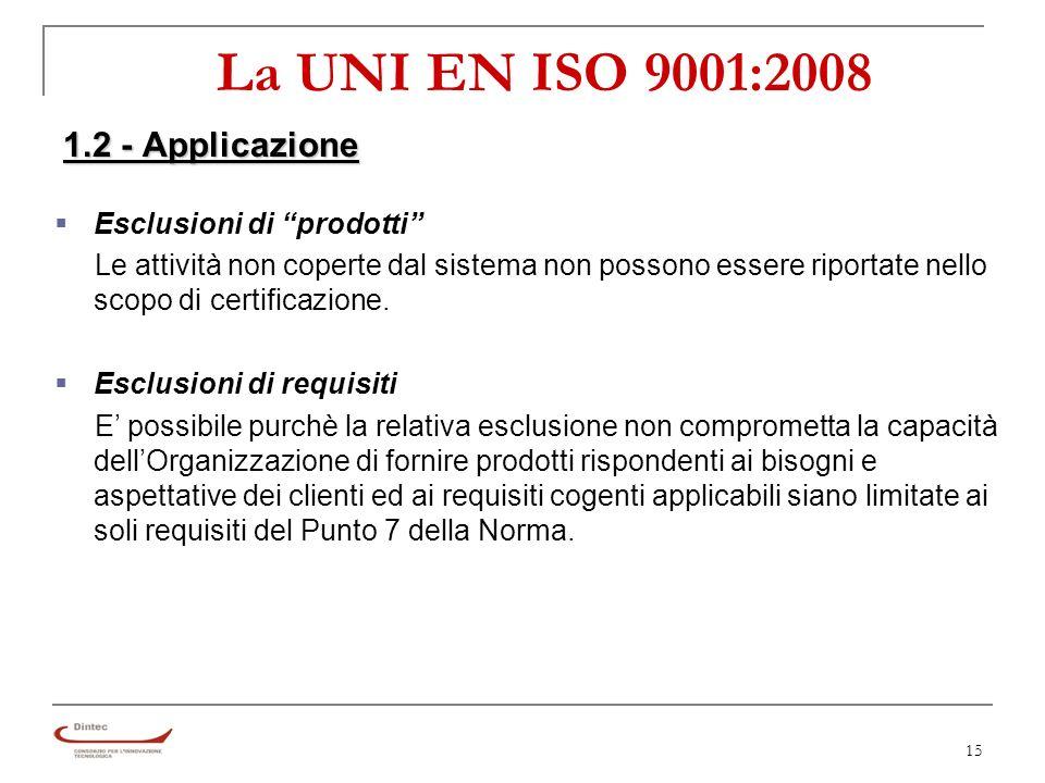 15 La UNI EN ISO 9001:2008 1.2 - Applicazione §Esclusioni di prodotti Le attività non coperte dal sistema non possono essere riportate nello scopo di certificazione.