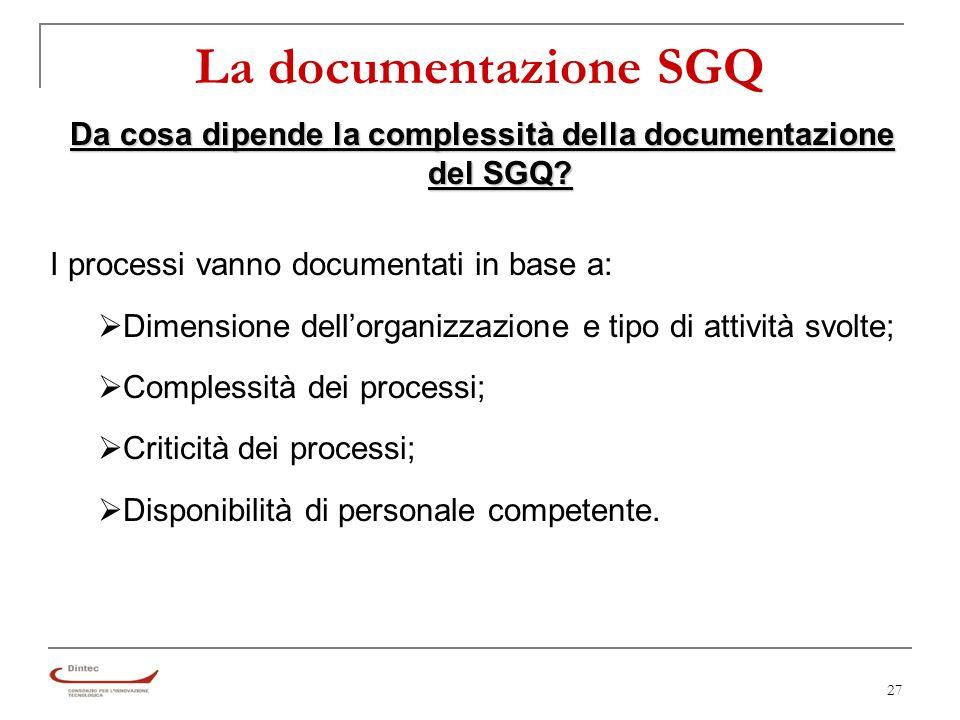 27 Da cosa dipende la complessità della documentazione del SGQ.