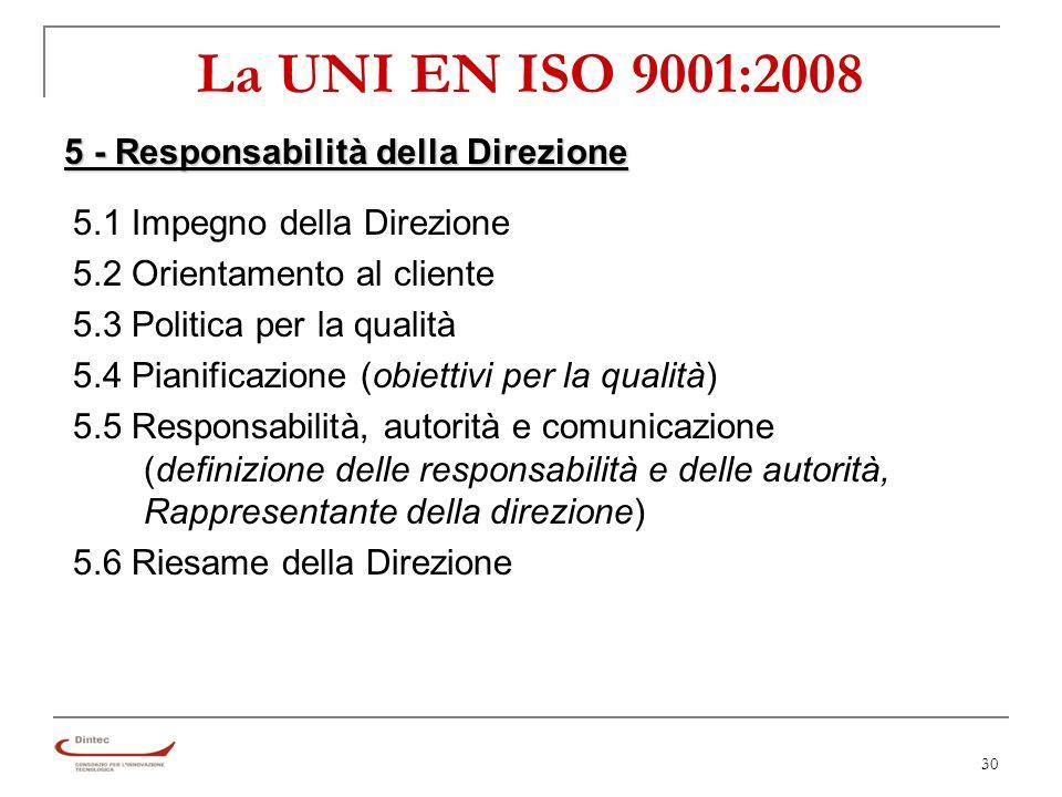 30 La UNI EN ISO 9001:2008 5 - Responsabilità della Direzione 5.1 Impegno della Direzione 5.2 Orientamento al cliente 5.3 Politica per la qualità 5.4 Pianificazione (obiettivi per la qualità) 5.5 Responsabilità, autorità e comunicazione (definizione delle responsabilità e delle autorità, Rappresentante della direzione) 5.6 Riesame della Direzione