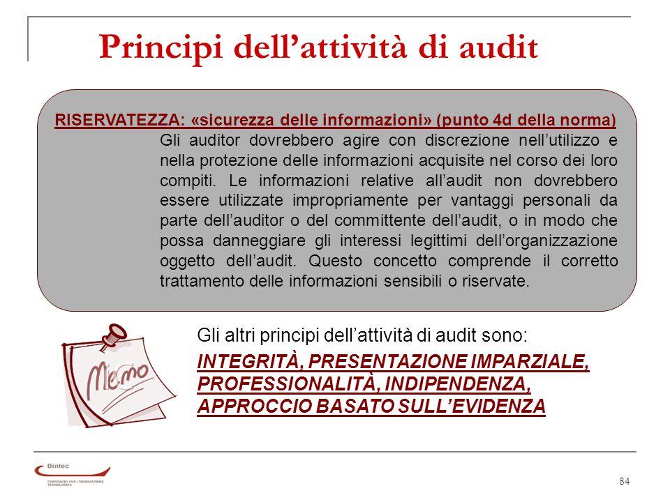 84 Principi dellattività di audit RISERVATEZZA: «sicurezza delle informazioni» (punto 4d della norma) Gli auditor dovrebbero agire con discrezione nellutilizzo e nella protezione delle informazioni acquisite nel corso dei loro compiti.