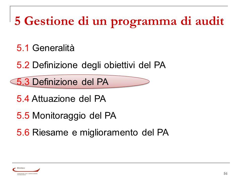 86 5 Gestione di un programma di audit 5.1 Generalità 5.2 Definizione degli obiettivi del PA 5.3 Definizione del PA 5.4 Attuazione del PA 5.5 Monitoraggio del PA 5.6 Riesame e miglioramento del PA