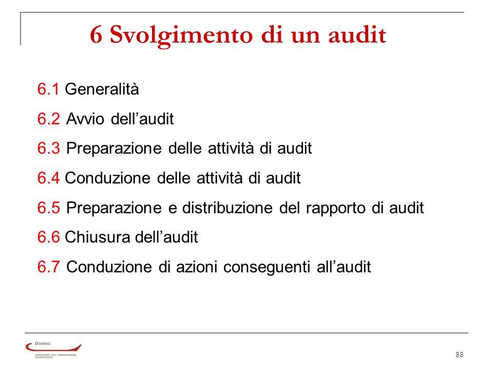 88 6 Svolgimento di un audit 6.1 Generalità 6.2Avvio dellaudit 6.3Preparazione delle attività di audit 6.4 Conduzione delle attività di audit 6.5Preparazione e distribuzione del rapporto di audit 6.6 Chiusura dellaudit 6.7Conduzione di azioni conseguenti allaudit
