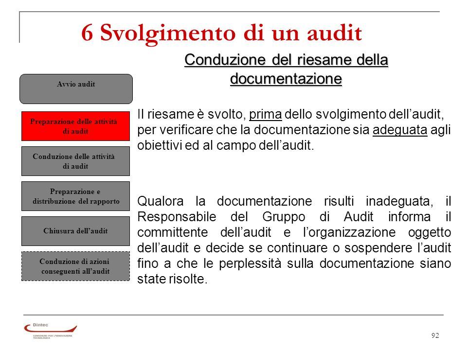 92 Conduzione del riesame della documentazione Il riesame è svolto, prima dello svolgimento dellaudit, per verificare che la documentazione sia adeguata agli obiettivi ed al campo dellaudit.