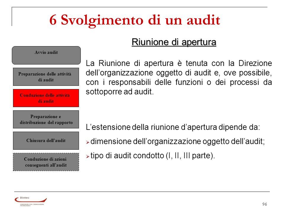 96 6 Svolgimento di un audit Riunione di apertura La Riunione di apertura è tenuta con la Direzione dellorganizzazione oggetto di audit e, ove possibile, con i responsabili delle funzioni o dei processi da sottoporre ad audit.