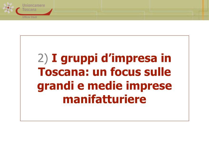 2) I gruppi dimpresa in Toscana: un focus sulle grandi e medie imprese manifatturiere