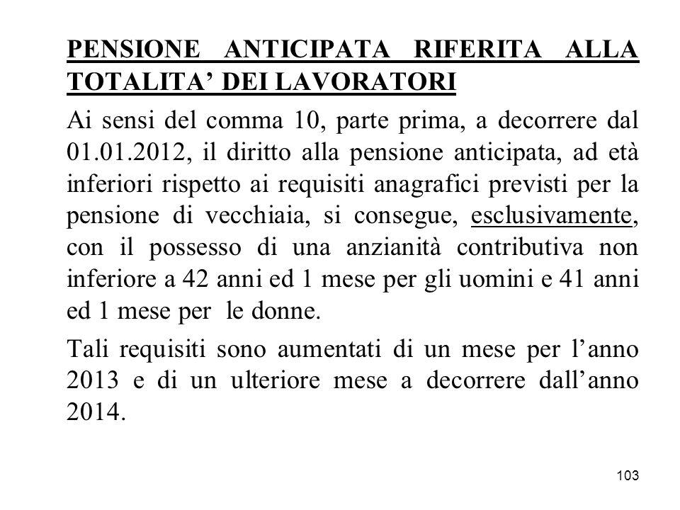 103 PENSIONE ANTICIPATA RIFERITA ALLA TOTALITA DEI LAVORATORI Ai sensi del comma 10, parte prima, a decorrere dal 01.01.2012, il diritto alla pensione