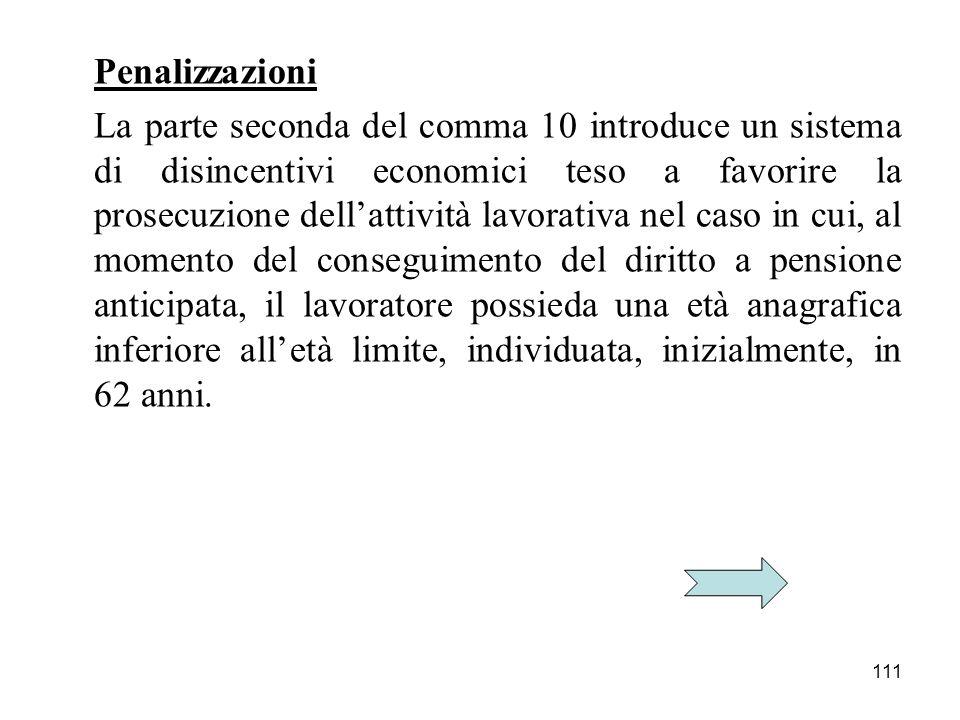 111 Penalizzazioni La parte seconda del comma 10 introduce un sistema di disincentivi economici teso a favorire la prosecuzione dellattività lavorativ