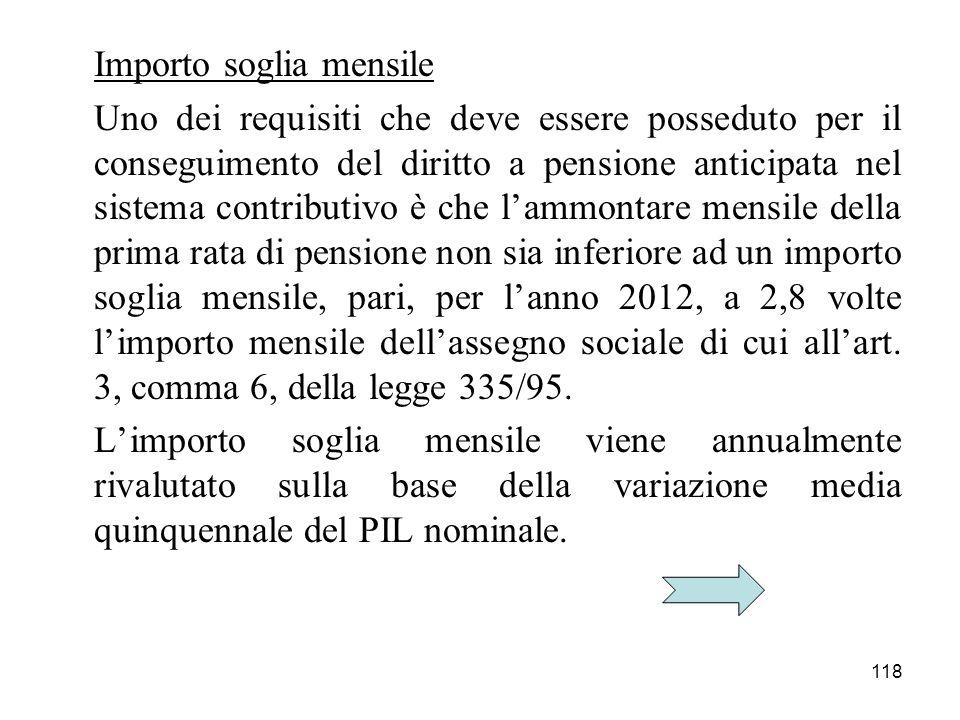 118 Importo soglia mensile Uno dei requisiti che deve essere posseduto per il conseguimento del diritto a pensione anticipata nel sistema contributivo
