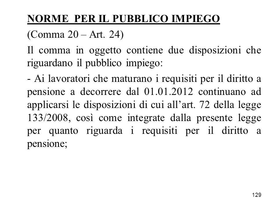 129 NORME PER IL PUBBLICO IMPIEGO (Comma 20 – Art. 24) Il comma in oggetto contiene due disposizioni che riguardano il pubblico impiego: - Ai lavorato