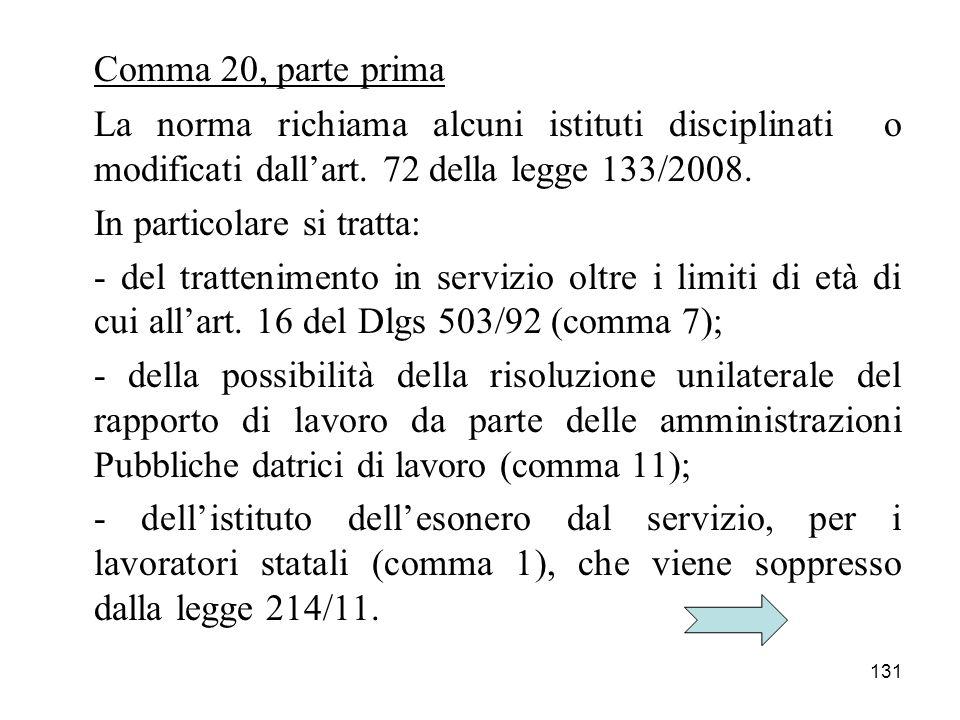 131 Comma 20, parte prima La norma richiama alcuni istituti disciplinati o modificati dallart. 72 della legge 133/2008. In particolare si tratta: - de