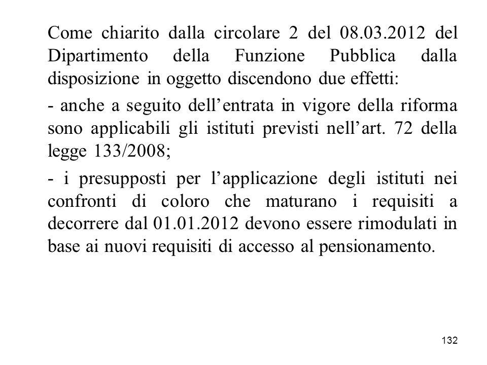 132 Come chiarito dalla circolare 2 del 08.03.2012 del Dipartimento della Funzione Pubblica dalla disposizione in oggetto discendono due effetti: - an