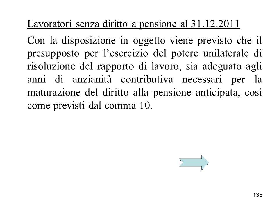 135 Lavoratori senza diritto a pensione al 31.12.2011 Con la disposizione in oggetto viene previsto che il presupposto per lesercizio del potere unila