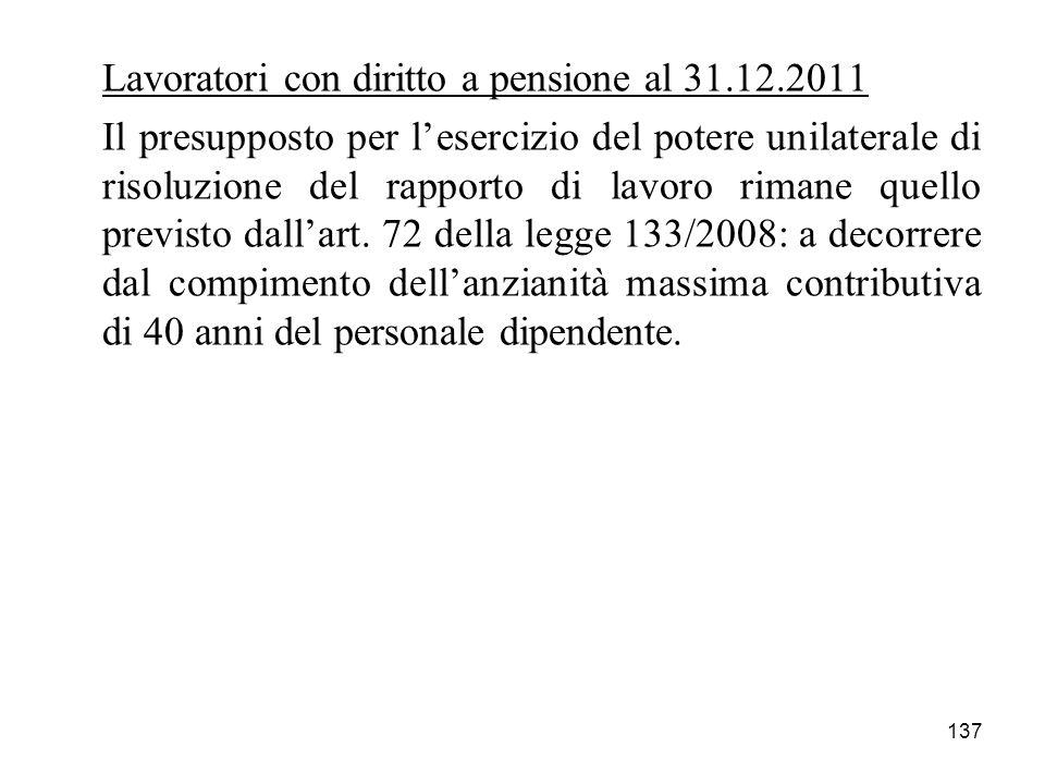 137 Lavoratori con diritto a pensione al 31.12.2011 Il presupposto per lesercizio del potere unilaterale di risoluzione del rapporto di lavoro rimane