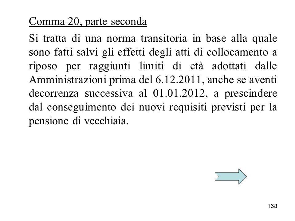 138 Comma 20, parte seconda Si tratta di una norma transitoria in base alla quale sono fatti salvi gli effetti degli atti di collocamento a riposo per