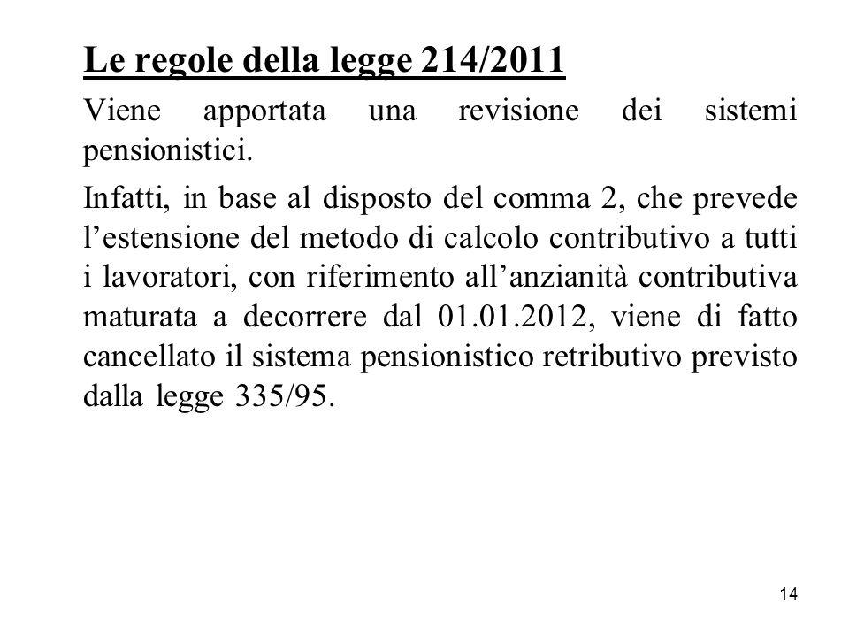 14 Le regole della legge 214/2011 Viene apportata una revisione dei sistemi pensionistici. Infatti, in base al disposto del comma 2, che prevede leste