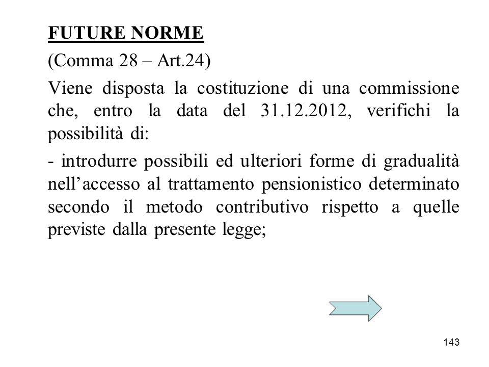 143 FUTURE NORME (Comma 28 – Art.24) Viene disposta la costituzione di una commissione che, entro la data del 31.12.2012, verifichi la possibilità di: