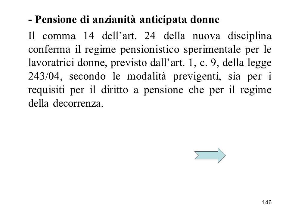 146 - Pensione di anzianità anticipata donne Il comma 14 dellart. 24 della nuova disciplina conferma il regime pensionistico sperimentale per le lavor