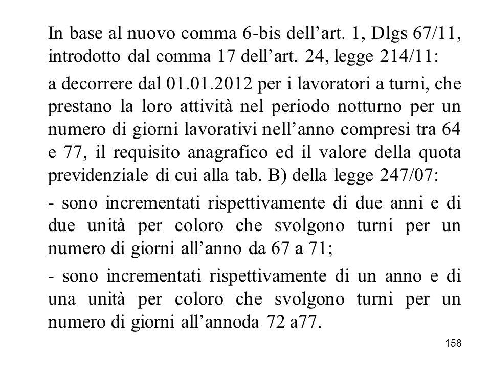158 In base al nuovo comma 6-bis dellart. 1, Dlgs 67/11, introdotto dal comma 17 dellart. 24, legge 214/11: a decorrere dal 01.01.2012 per i lavorator