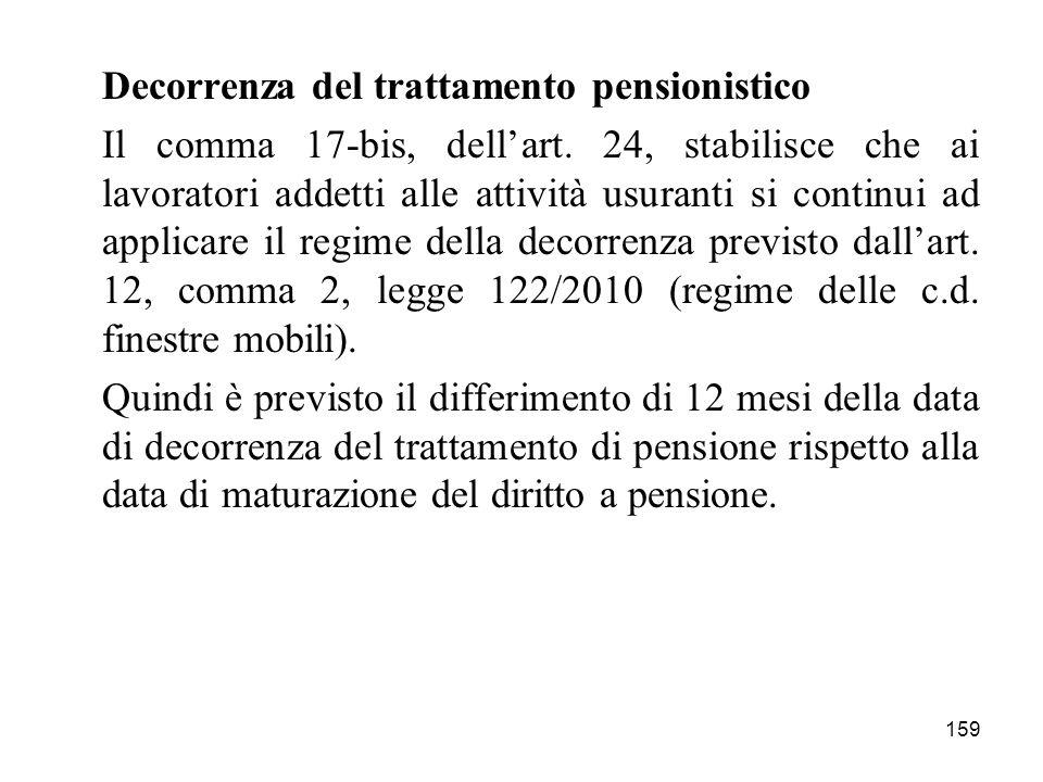 159 Decorrenza del trattamento pensionistico Il comma 17-bis, dellart. 24, stabilisce che ai lavoratori addetti alle attività usuranti si continui ad