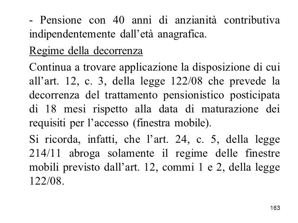 163 - Pensione con 40 anni di anzianità contributiva indipendentemente dalletà anagrafica. Regime della decorrenza Continua a trovare applicazione la