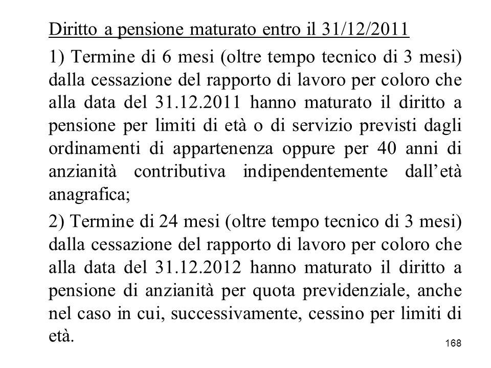 168 Diritto a pensione maturato entro il 31/12/2011 1) Termine di 6 mesi (oltre tempo tecnico di 3 mesi) dalla cessazione del rapporto di lavoro per c