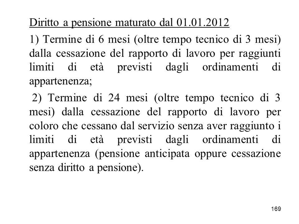 169 Diritto a pensione maturato dal 01.01.2012 1) Termine di 6 mesi (oltre tempo tecnico di 3 mesi) dalla cessazione del rapporto di lavoro per raggiu