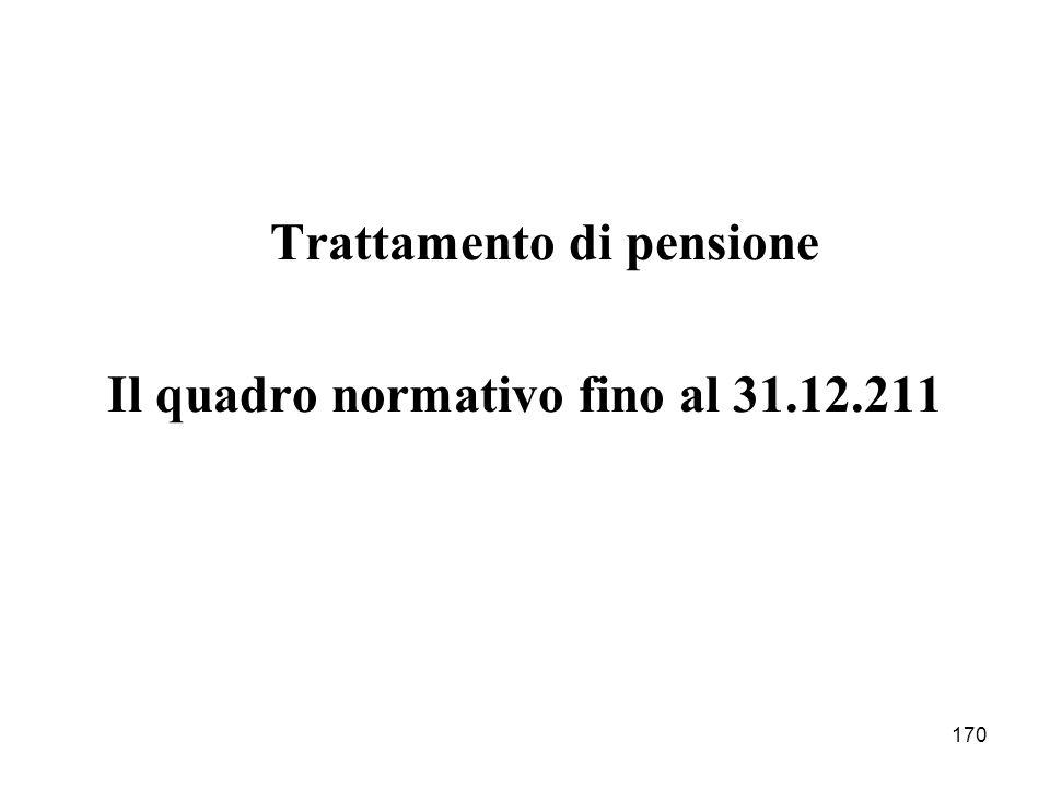170 Trattamento di pensione Il quadro normativo fino al 31.12.211