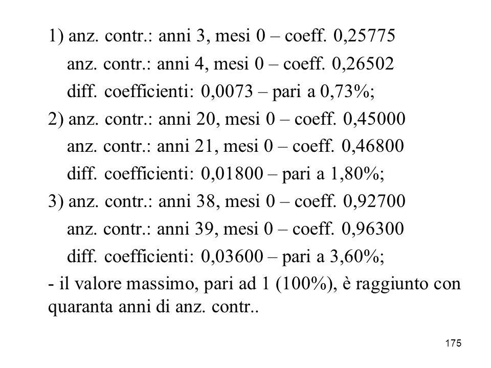 175 1) anz. contr.: anni 3, mesi 0 – coeff. 0,25775 anz. contr.: anni 4, mesi 0 – coeff. 0,26502 diff. coefficienti: 0,0073 – pari a 0,73%; 2) anz. co
