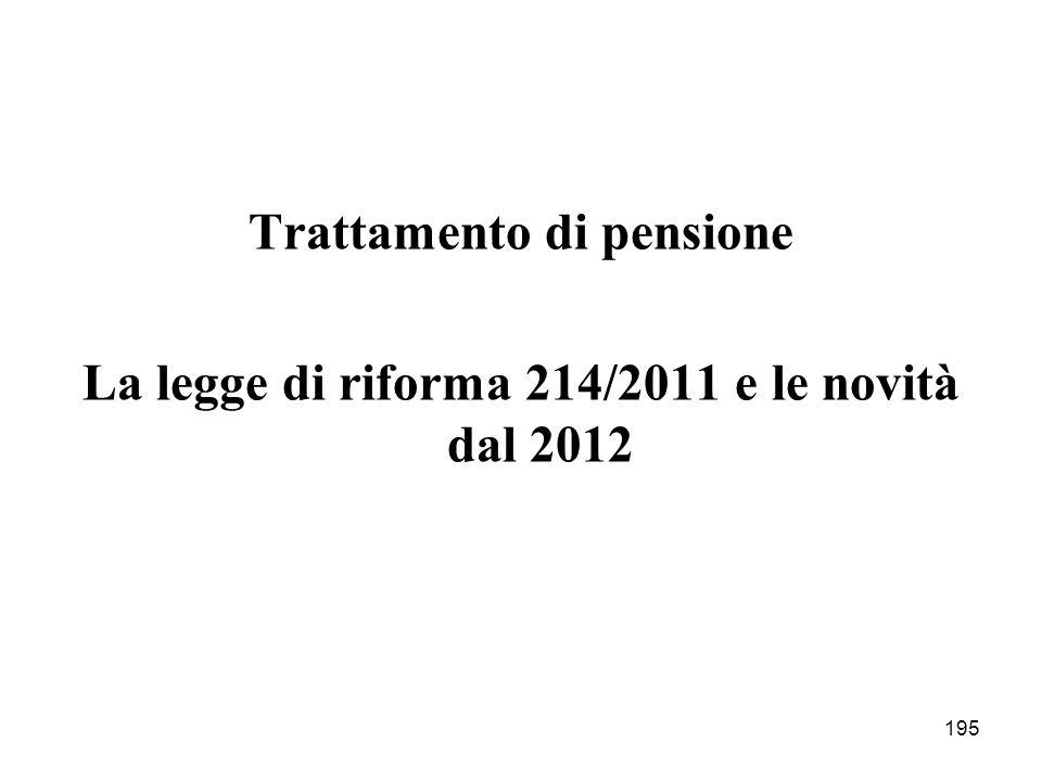 195 Trattamento di pensione La legge di riforma 214/2011 e le novità dal 2012