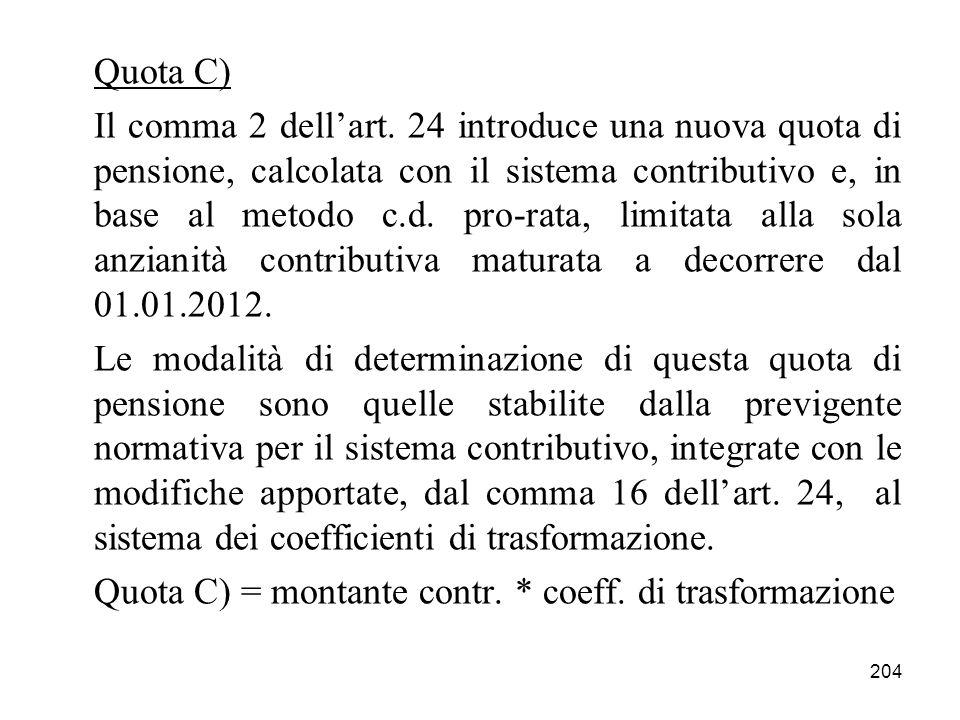 204 Quota C) Il comma 2 dellart. 24 introduce una nuova quota di pensione, calcolata con il sistema contributivo e, in base al metodo c.d. pro-rata, l