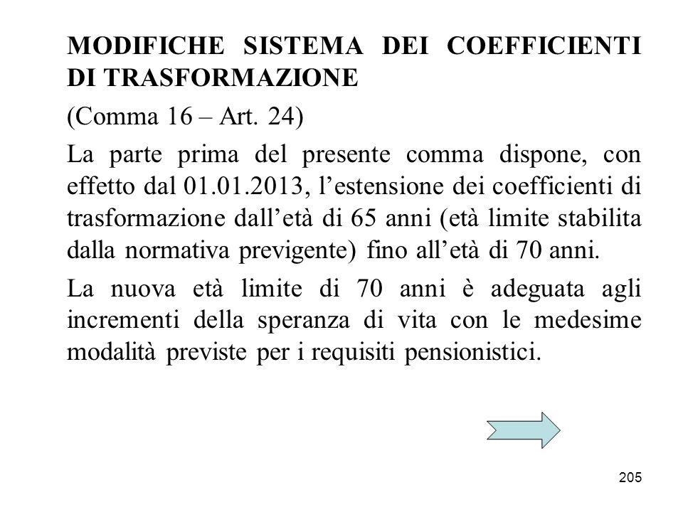 205 MODIFICHE SISTEMA DEI COEFFICIENTI DI TRASFORMAZIONE (Comma 16 – Art. 24) La parte prima del presente comma dispone, con effetto dal 01.01.2013, l