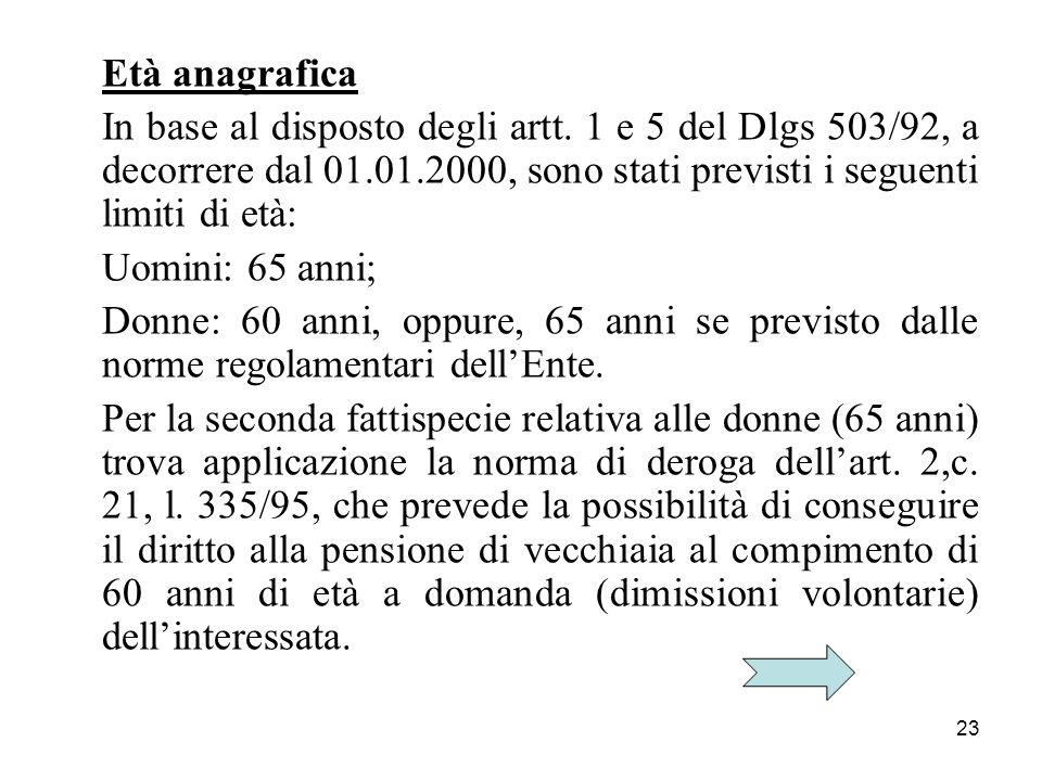 23 Età anagrafica In base al disposto degli artt. 1 e 5 del Dlgs 503/92, a decorrere dal 01.01.2000, sono stati previsti i seguenti limiti di età: Uom