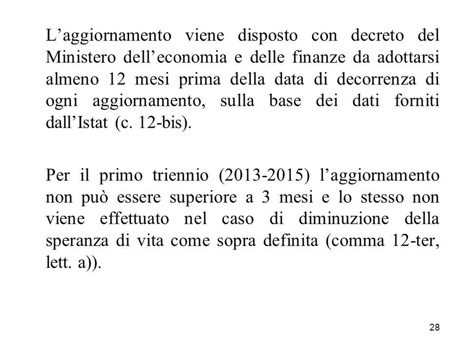 28 Laggiornamento viene disposto con decreto del Ministero delleconomia e delle finanze da adottarsi almeno 12 mesi prima della data di decorrenza di