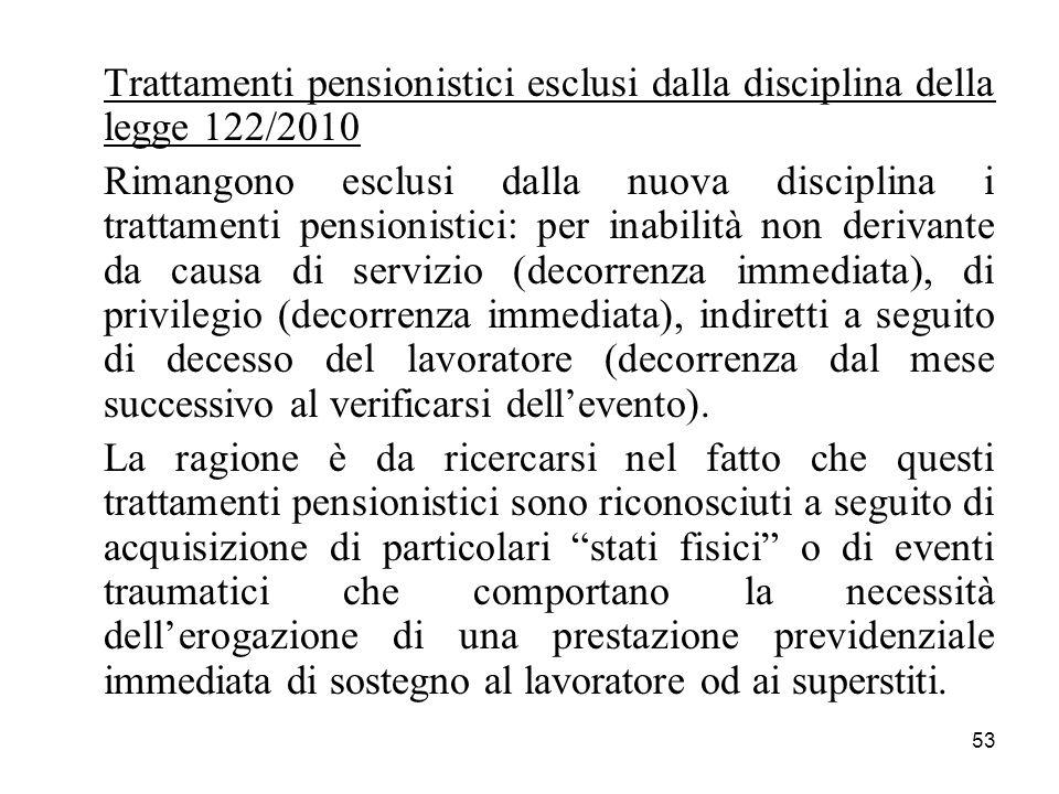 53 Trattamenti pensionistici esclusi dalla disciplina della legge 122/2010 Rimangono esclusi dalla nuova disciplina i trattamenti pensionistici: per i