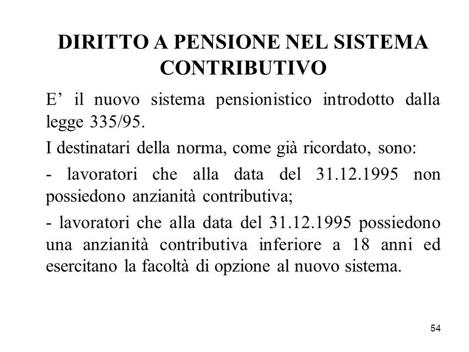 54 DIRITTO A PENSIONE NEL SISTEMA CONTRIBUTIVO E il nuovo sistema pensionistico introdotto dalla legge 335/95. I destinatari della norma, come già ric