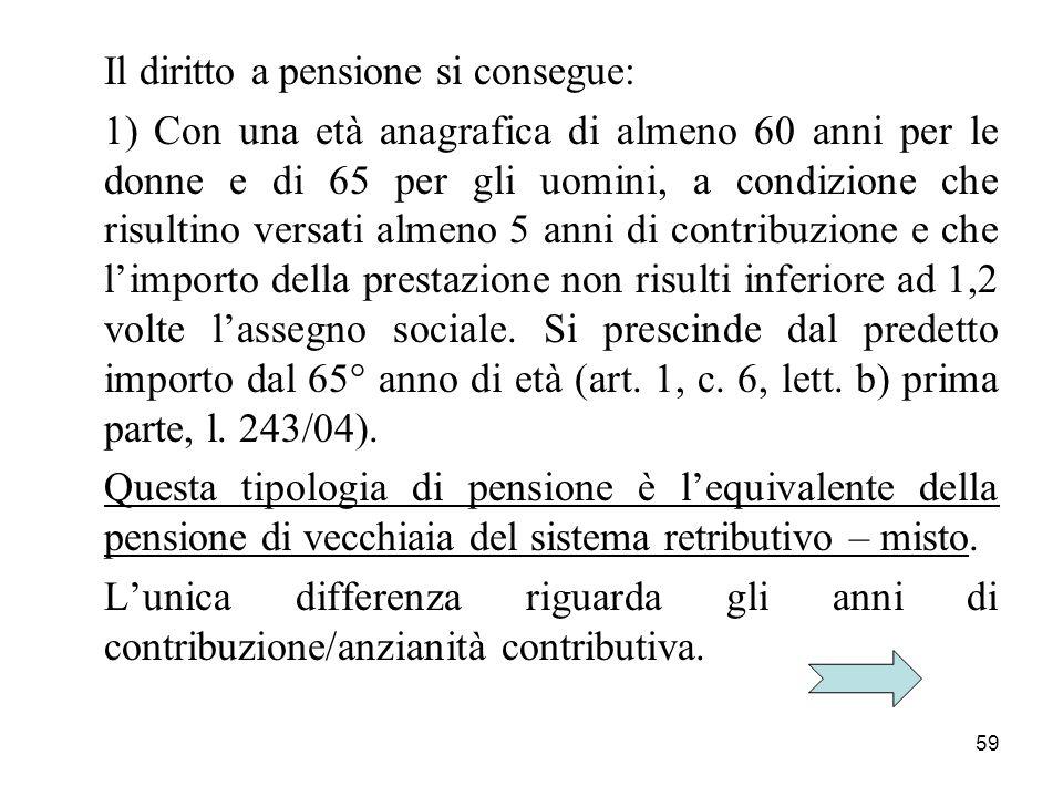 59 Il diritto a pensione si consegue: 1) Con una età anagrafica di almeno 60 anni per le donne e di 65 per gli uomini, a condizione che risultino vers