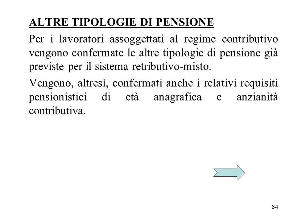 64 ALTRE TIPOLOGIE DI PENSIONE Per i lavoratori assoggettati al regime contributivo vengono confermate le altre tipologie di pensione già previste per
